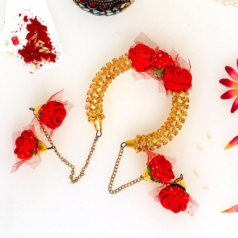 Floral Lumba Rakhi Set for Bhaiya Bhabhi
