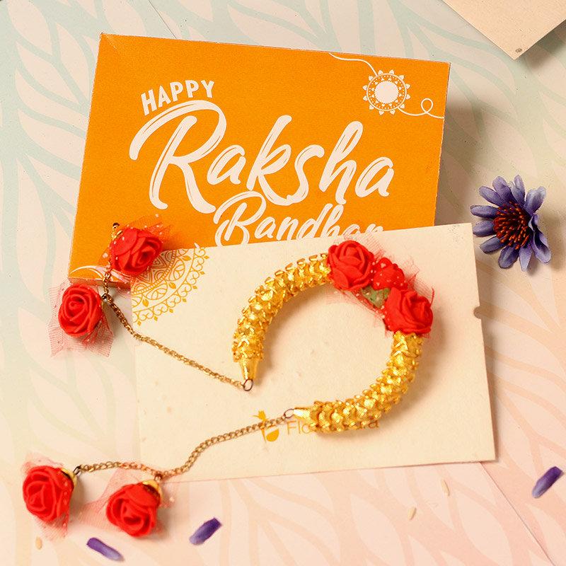 Rakhi Card in Floral Lumba Rakhi Set for Bhaiya Bhabhi