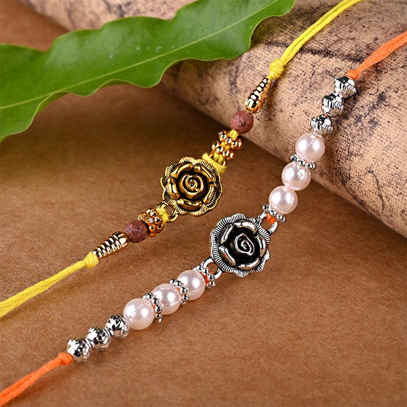 Floral Metallic Rakhi Set