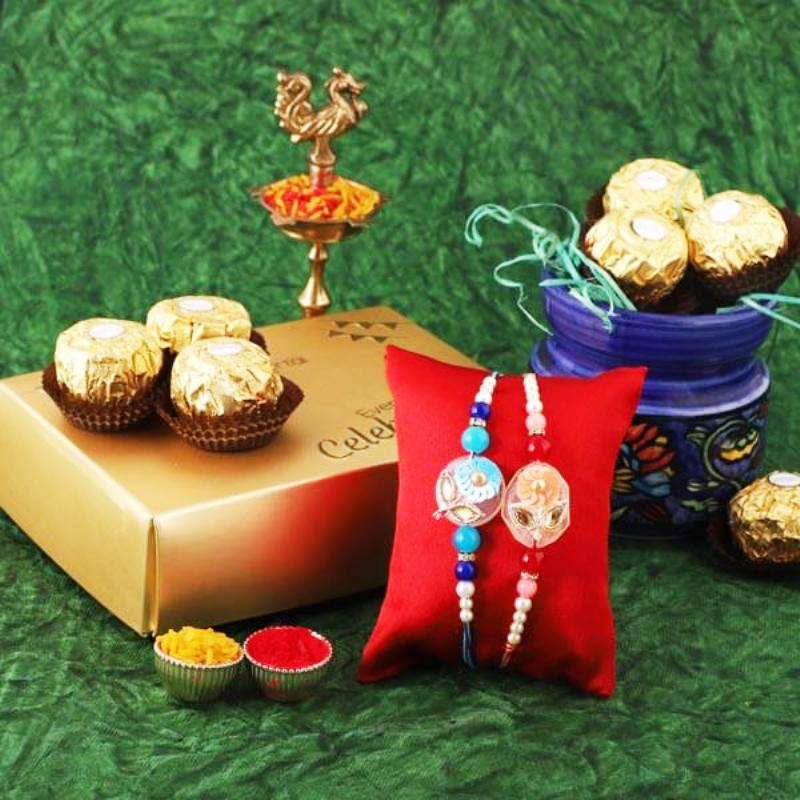 Floral Rakhi And Ferrero Treat Combo