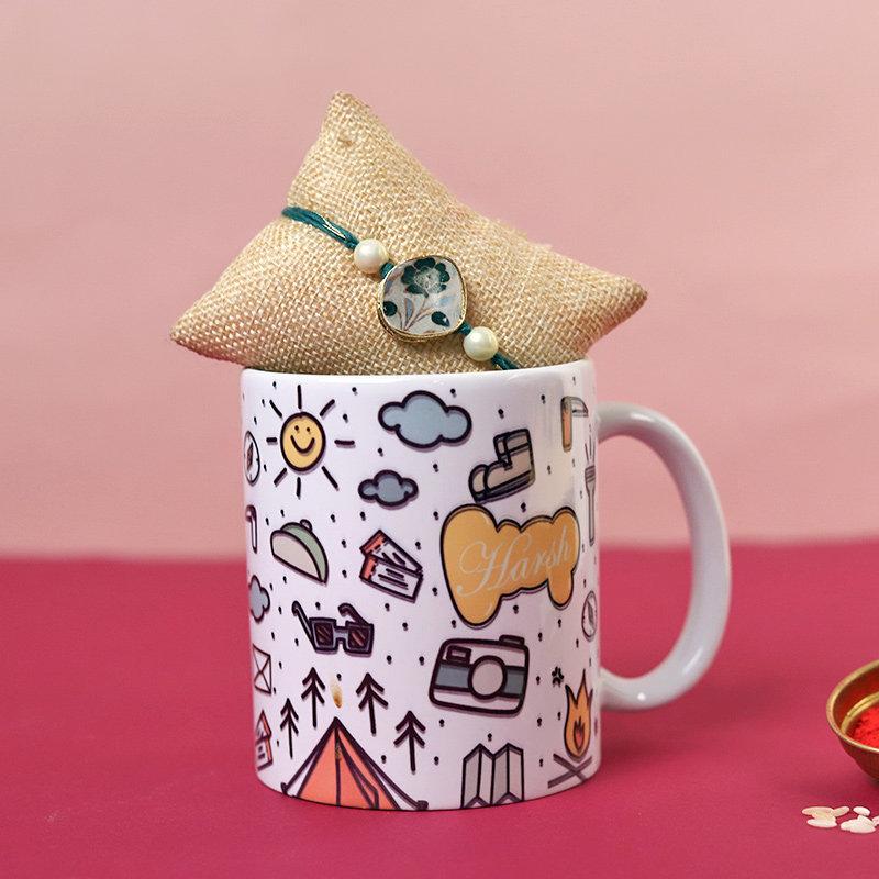 Floral Rakhi Custom Mug