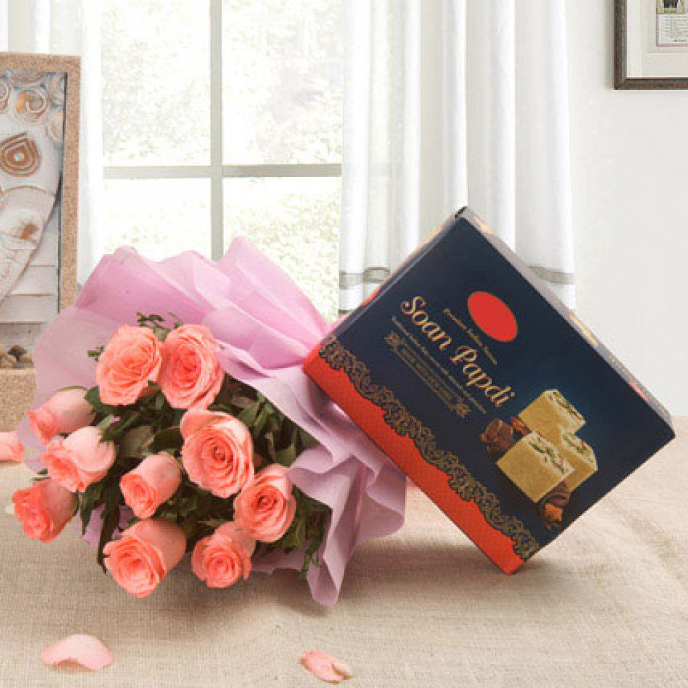 Pink Roses With Soan Papdi Sweets