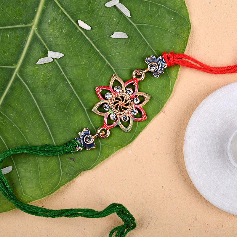Order Flower Designer Rakhi N Sweets Online