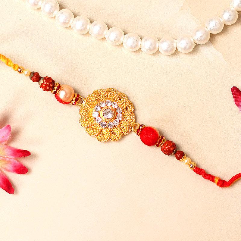 Flower Rakhi - One Diamond Rakhi with Roli Chawal