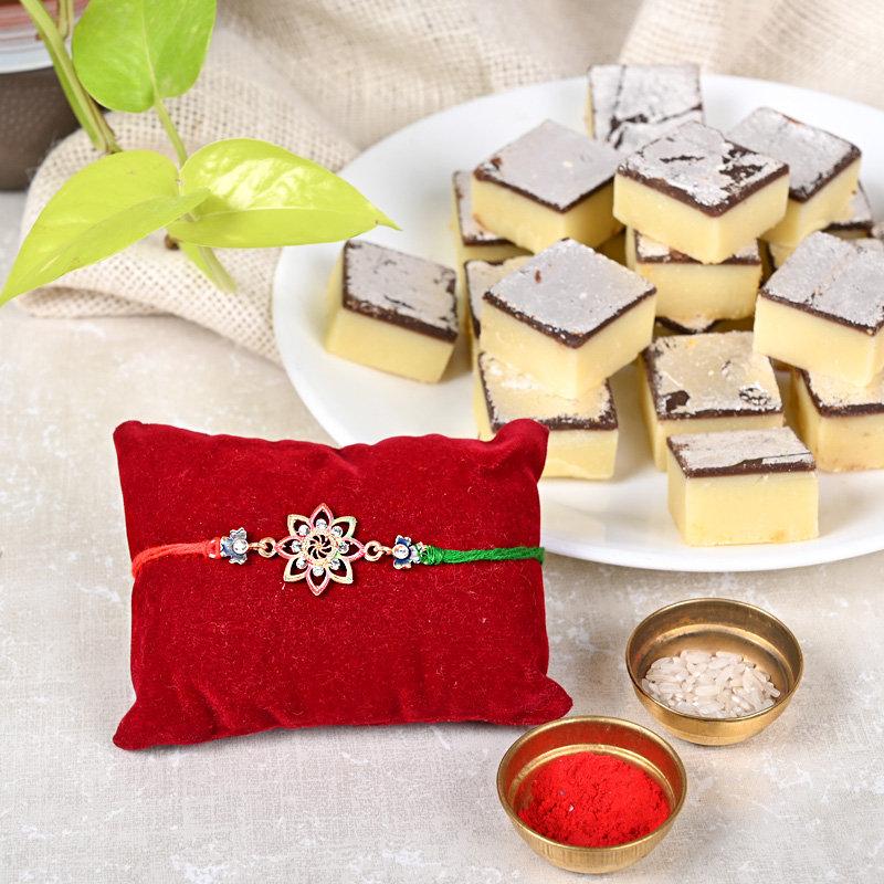 One Designer Rakhi - Flower Rakhi N Mitahi