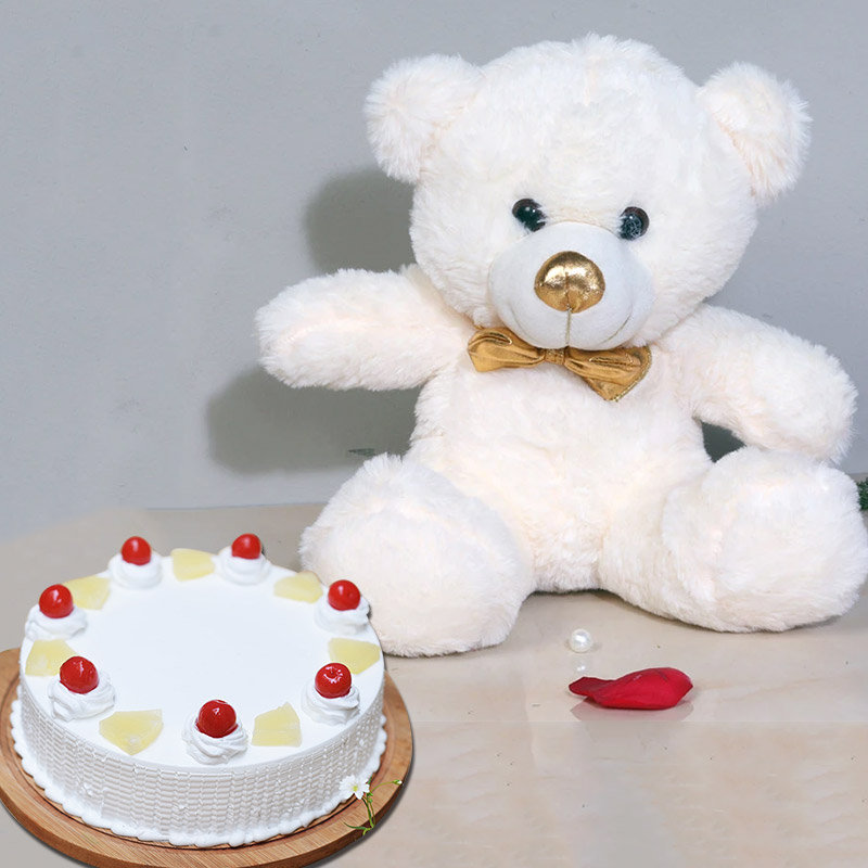 Fluffy Pineapple Combo - 12 Inch Teddy with 500 gm Pineapple Cake