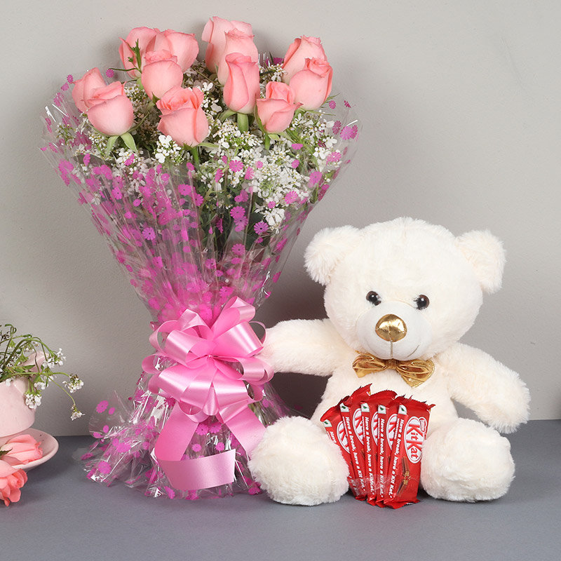 Flower, Chocolate and Teddy Gift Combo