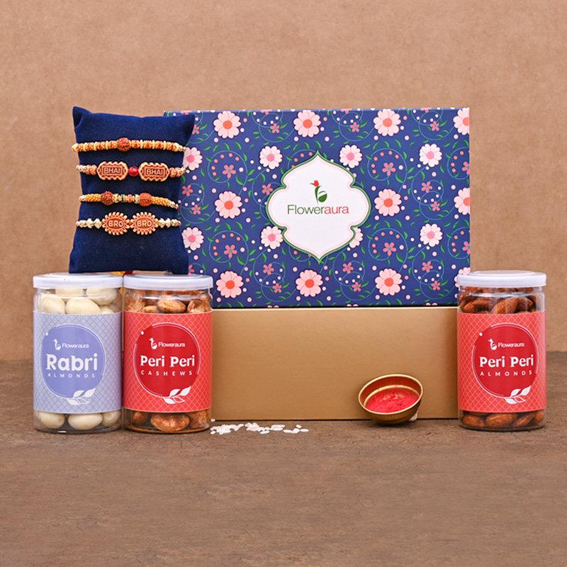 For Bros Rakhi SIgnature Box - Set of 4 Designer Rakhi