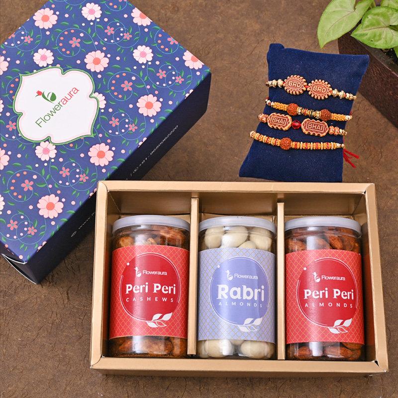 Set of 4 Designer Rakhi - For Bros Rakhi SIgnature Box