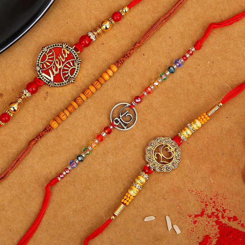 Four Exquisite Rakhis Pack