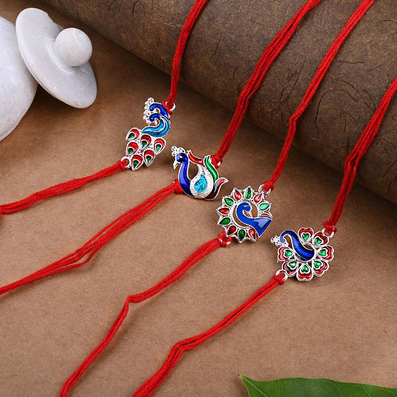 Four Peacock Rakhi Set - Set of 4 Designer Rakhi
