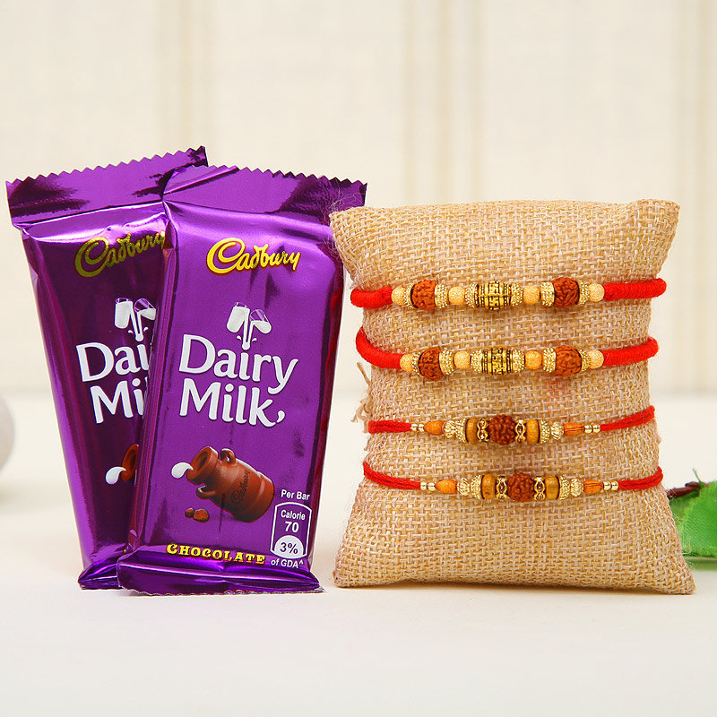 Four Rakhi Choco Combo