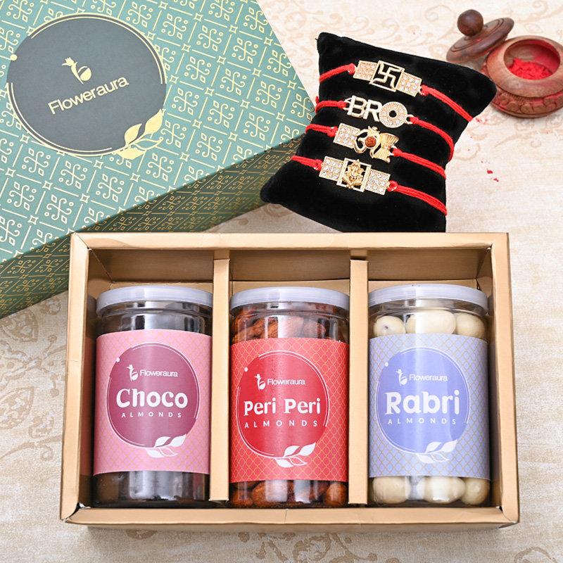 Set of 4 Designer Rakhi - Four Rakhi Signature Box