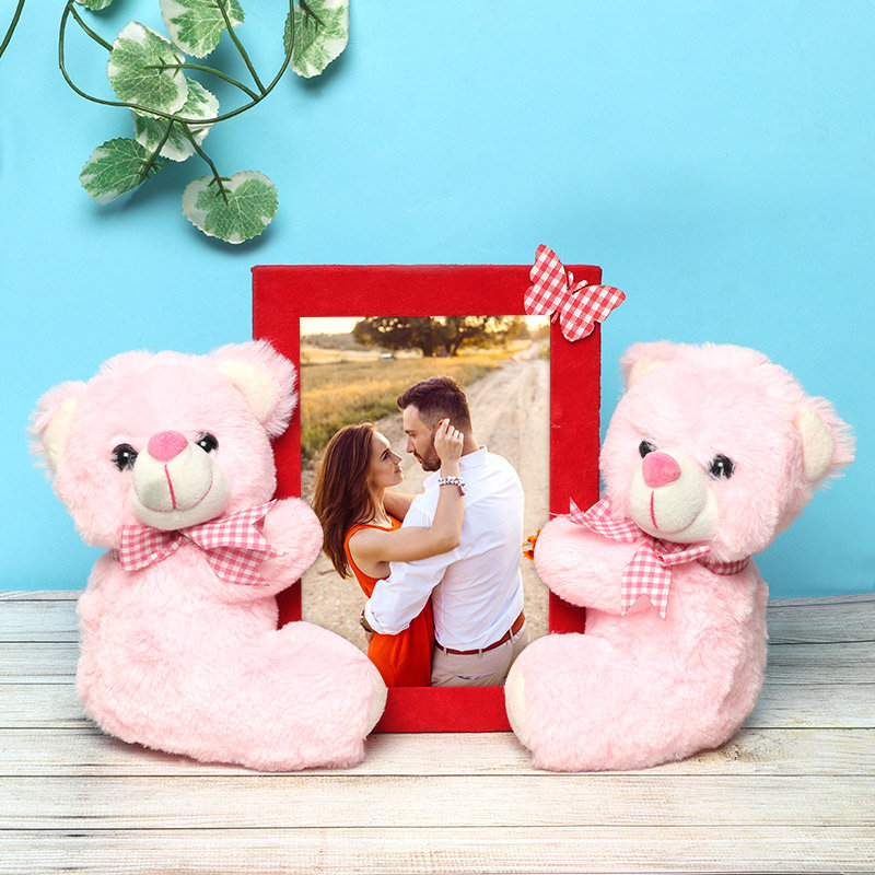 Personalised Photo Frame with Two Pink Teddies
