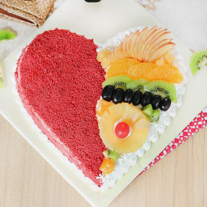 Heart Shape Red Velvet Fruit Filled Cake with Normal View