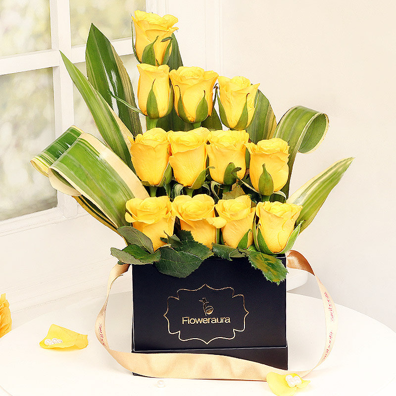 Yellow Roses Arrangement in a Black Box