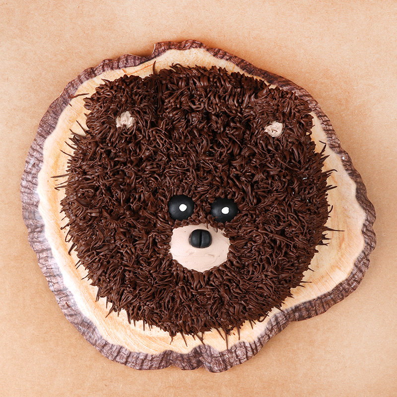 Furry Brown Bear Cake