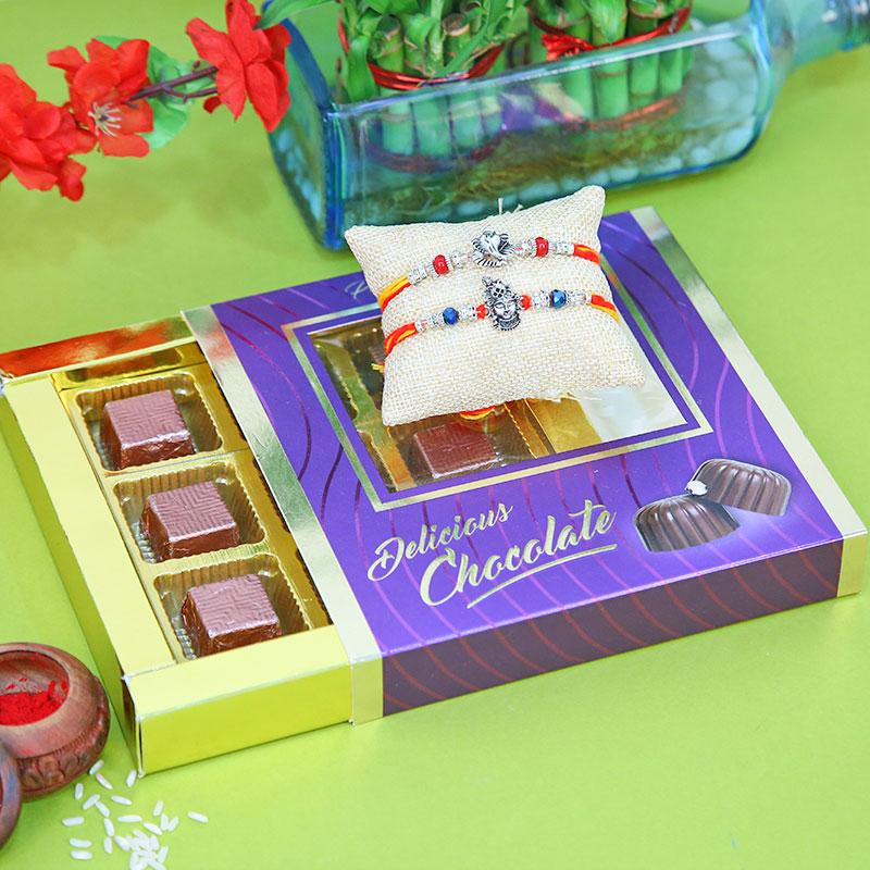 Ganesh Kanha Choco Rakhi - Designer Rakhi, Handmade Chocolate With Box