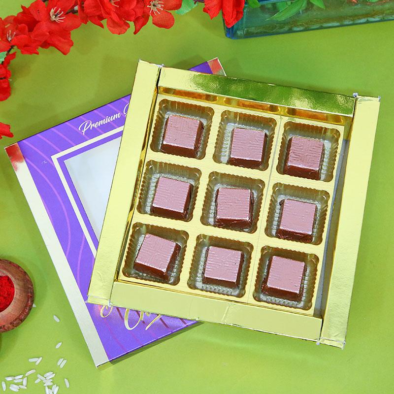 Designer Rakhi, Handmade Chocolate With Box - Ganesh Kanha Choco Rakhi