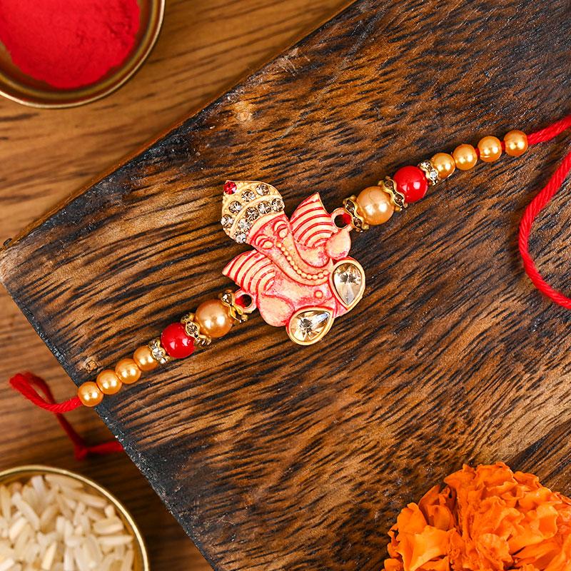 Ganesha Beads Rakhi - Divine rakhi, Ganesh Rakhi