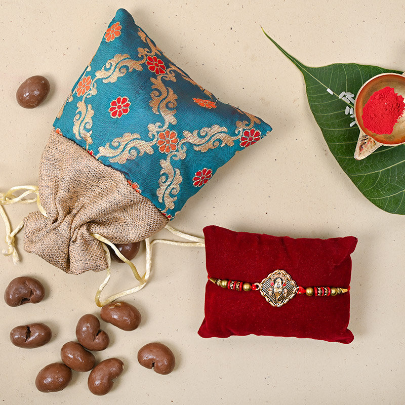 Ganesha Choco Nuts Hamper - One Designer Rakhi