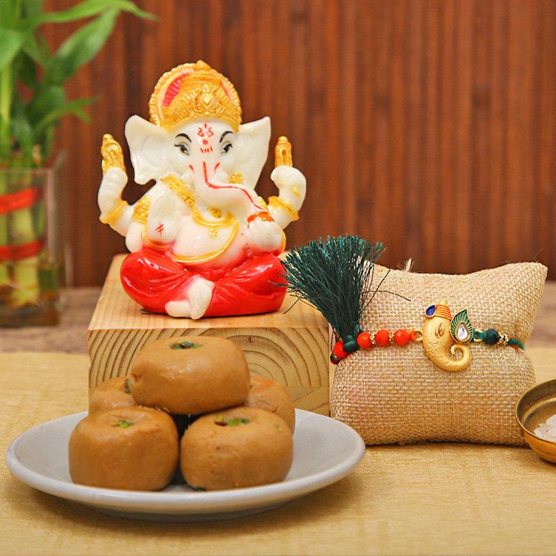 Ganesha Idol with Ganesha rakhi - Designer Rakhi