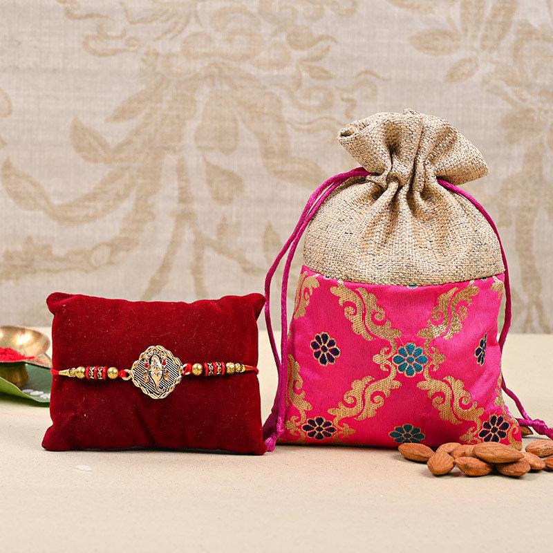 Ganesha Rakhi Almondy Combo - One Designer Rakhi