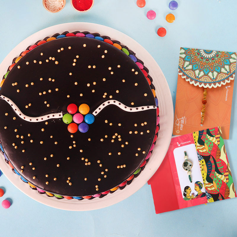 2 Rakhi Set with Chocolate Cake - Instant Delivery Available