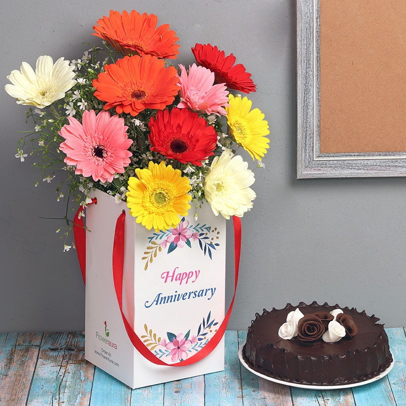 Anniversary Combo of Mixed Gerberas and Chocolate Cake