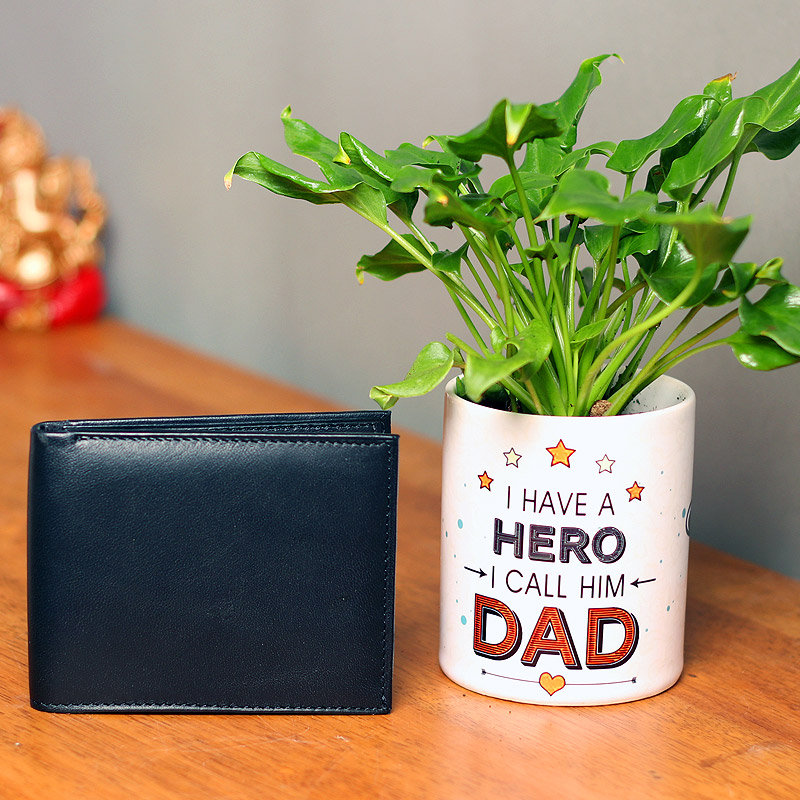 Green Xanadu Plant and Wallet Combo for Dad