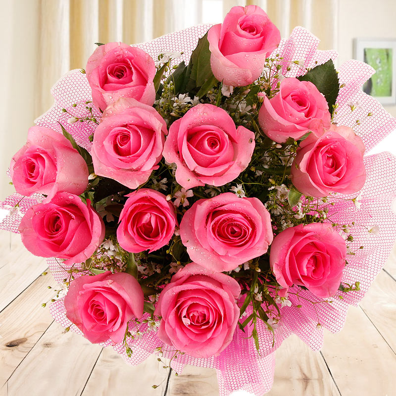 Zoomed view of 12 pink Roses bouquet - A part of Gift of Fondness