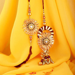 Glittery Bhaiya Bhabhi Rakhi Set