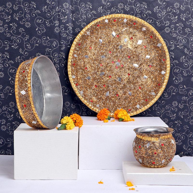 Glittery Karwa Chauth Thali Set