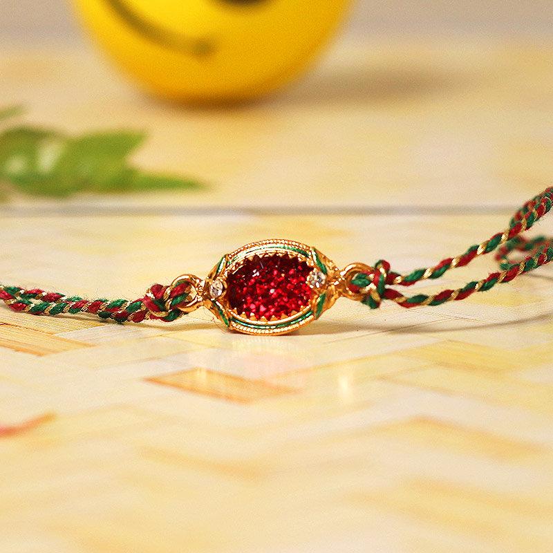 Glittery Red Designer Rakhi - One Stone Rakhi and Complimentary Roli Chawal