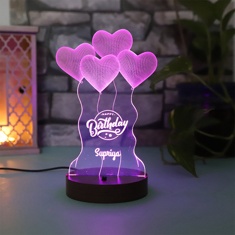 Customised LED Acrylic Multicolour Night Lamp Gift for Bday