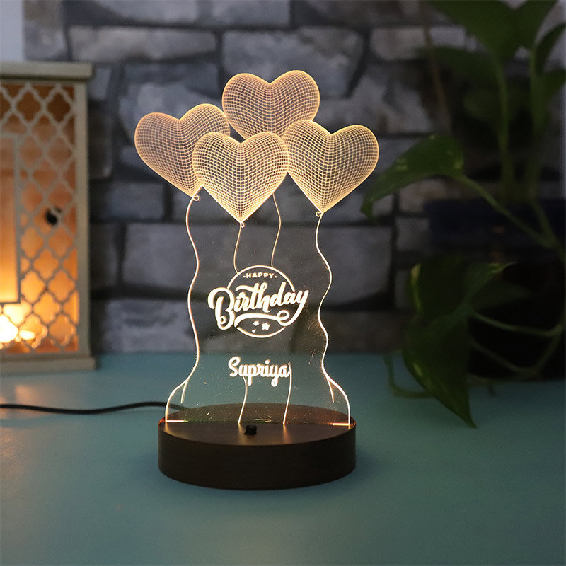 Customised Love Baloon Happy Birthday Design Night Lamp