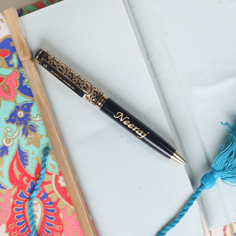 Golden Black Name Printed Pen - A Perfect Gift for husband