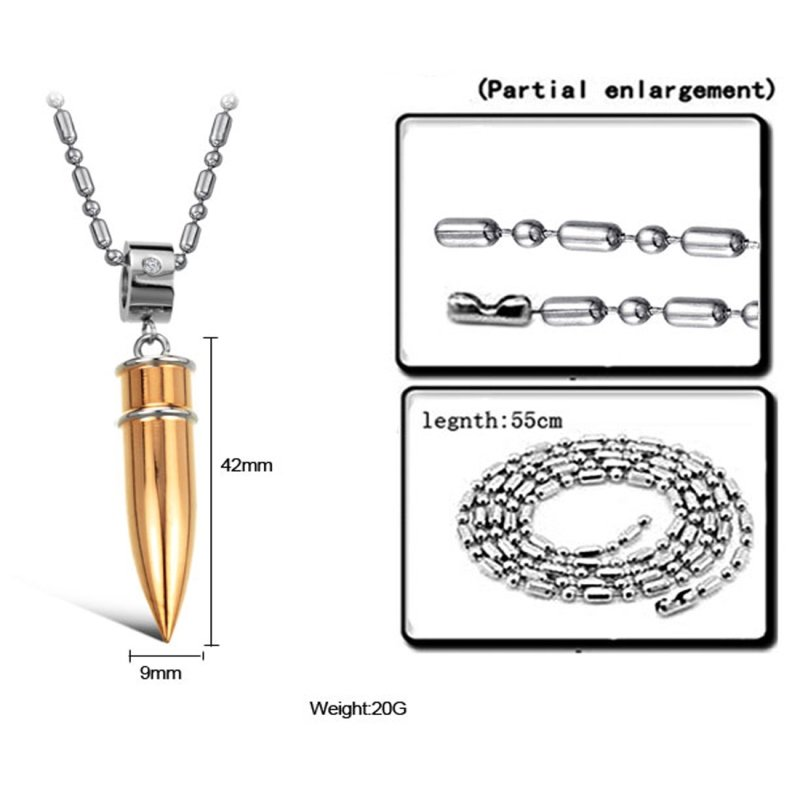 Specification of Golden Bullet Pendant - A Beautiful Gift For Men