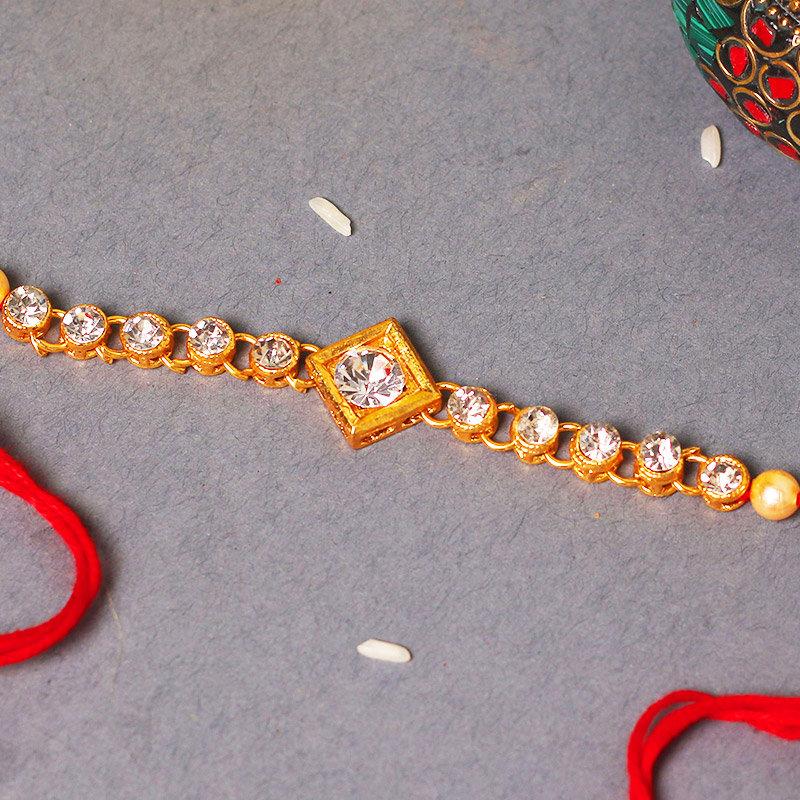 Golden Diamond Rakhi - One Diamond Rakhi