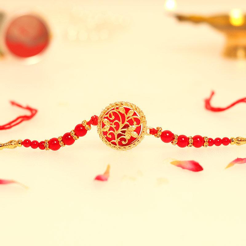 Golden Floral Rakhi - One Metal Rakhi with Roli Chawal
