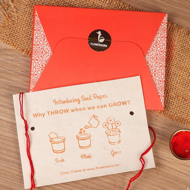 Rakhi Card in Golden Floral Rakhi - Rakhi Gifts for Brother Online