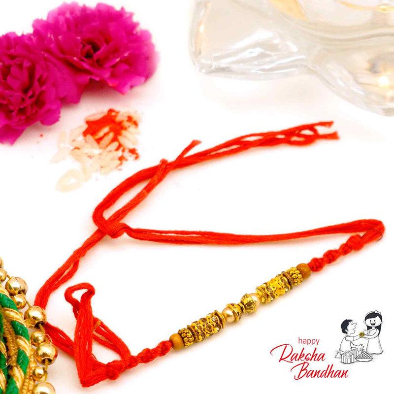 Golden La Pearl Rakhi