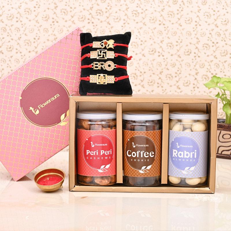 Send Set of 4 Designer Rakhi Online