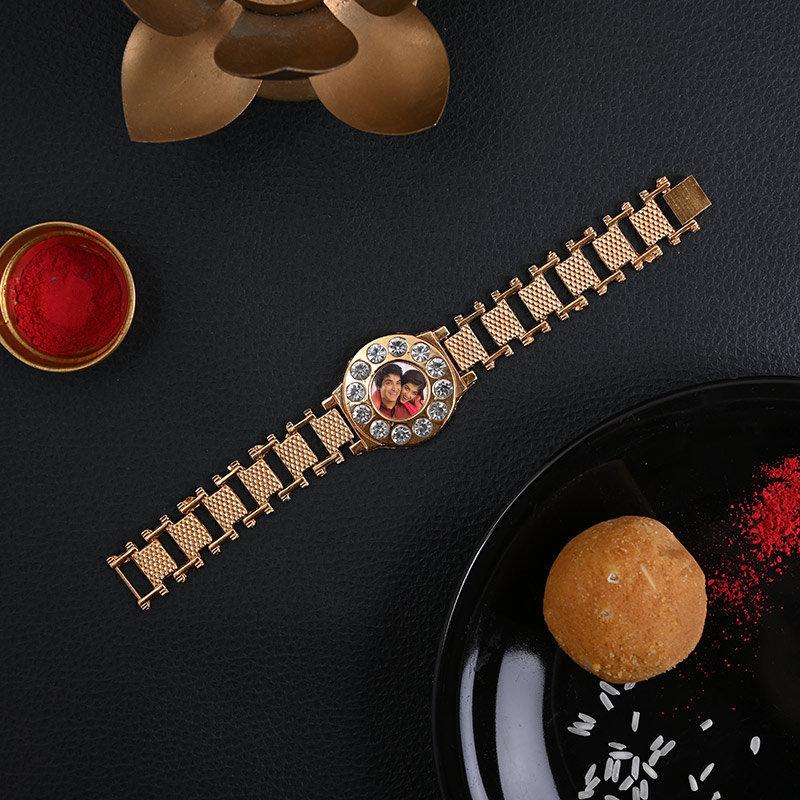 Golden Watch Style Rakhi - One Personalised Rakhi