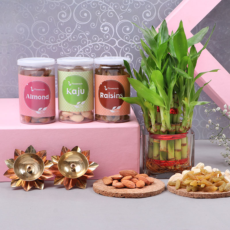 buy Lucky Bamboo With Glass Vase, dry fruits & diyas