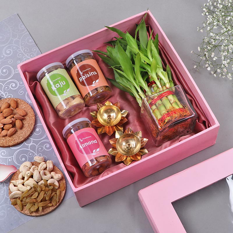 Order Online Lucky Bamboo With Glass Vase, dry fruits & diyas