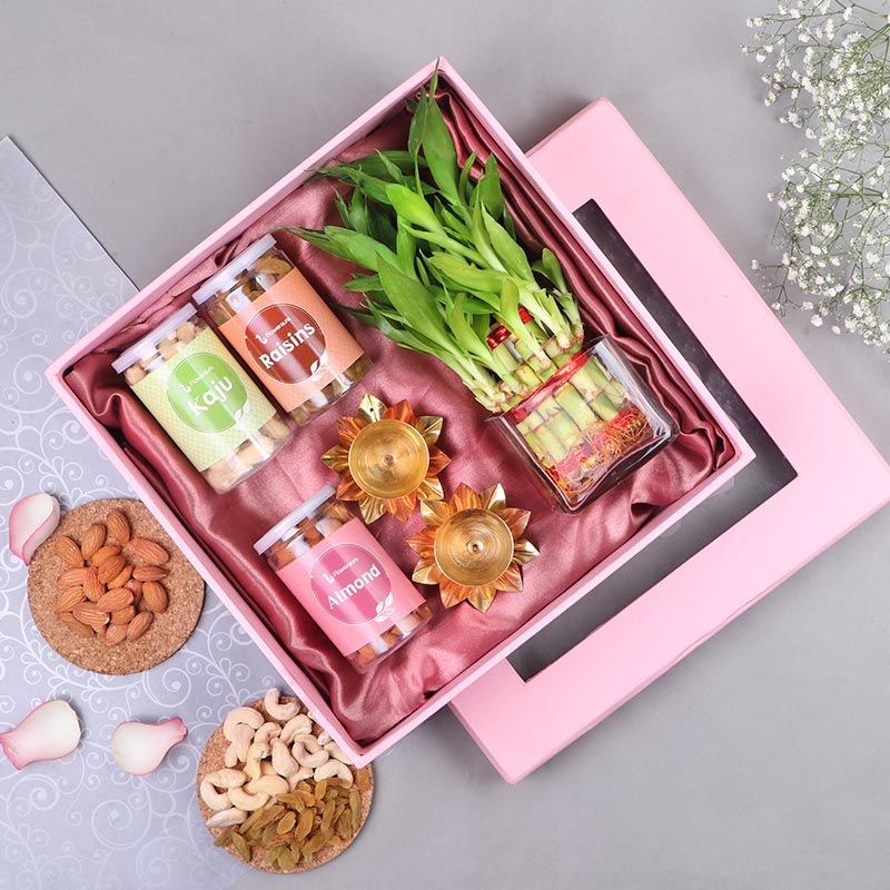 Send Lucky Bamboo With Glass Vase, dry fruits & diyas