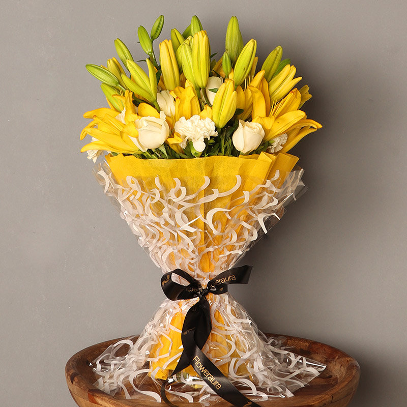 Gorgeous Mixed Flowers Bouquet - Premium Bouquet of 26 Flowers with 6 Yellow Lilies and 10 White Roses and 10 White Carnations