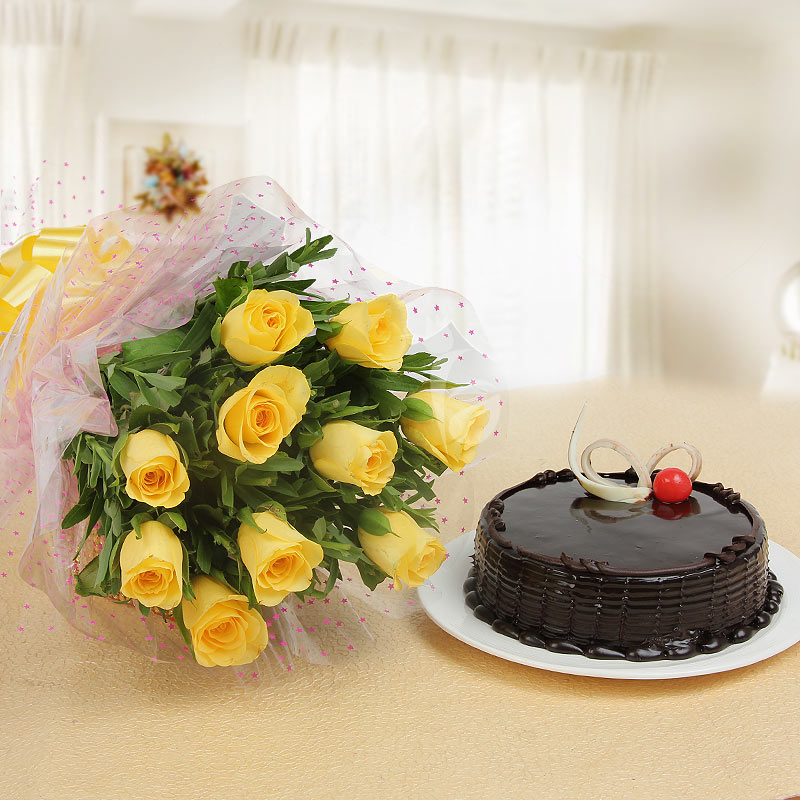Gracious Smiles - Combo of 10 yellow roses with half kg chocolate truffle cake