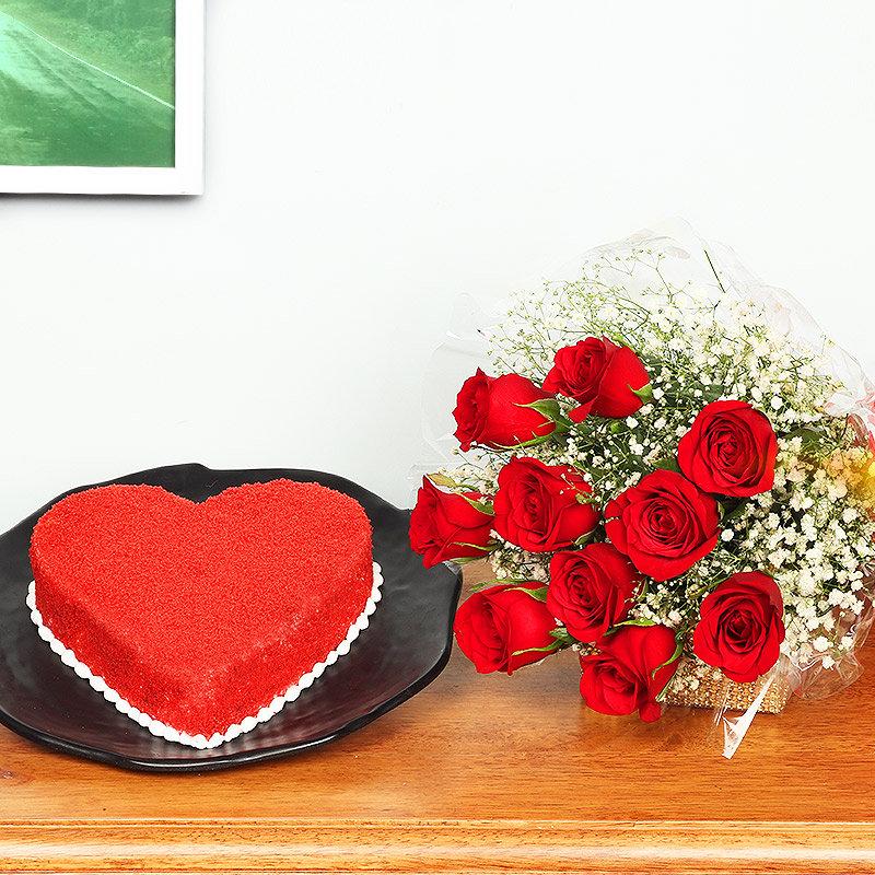 Grandiose Love - Combo of 12 Red roses and Heart shaped 1kg red velvet cake